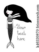 Beautiful little mermaid. Siren. Sea theme.