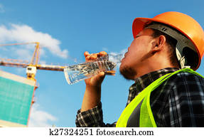 Construction worker, water drink