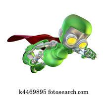 Cute green metal robot superhero character