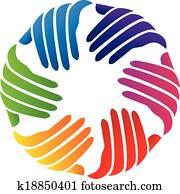 Hands charity company logo vector