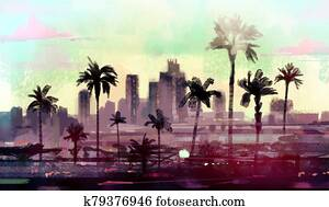 Landscape with palm trees in Los Angeles.