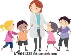 Stickman Kids Psychiatrist Doctor Illustration