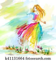 Watercolor spring running girl at light chiffon dress