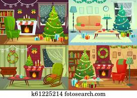 Christmas room interior. Xmas home decoration, Santa gifts under traditional tree and winter holiday house interior vector illustration