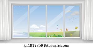fenêtres en différentes saisons