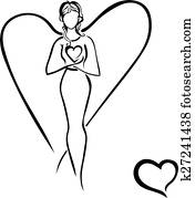 Girl with heart isolated. Guardian Angel. Mom. Vector illustrati