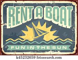 Retro tin sign design for boat rentals