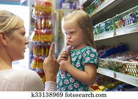 Child Having Arguement With Mother At Candy Counter
