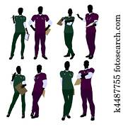 Female and Male Doctor Silhouette