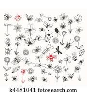 insekt, skizze, sammlung, für, dein, design