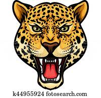 Jaguar head isolated cartoon mascot design