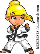 Karate martial arts tae kwon do dojo vector clipart cartoon Girl Stance