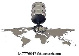 Oil production concept. Crude oil spilled in the shape of Earth map, 3D rendering