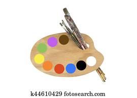 pinsel, farben, und, künstlerpalette
