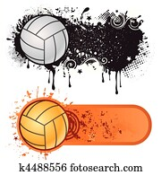 volleyball sport and grunge ink