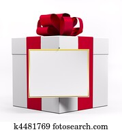 White gift box with red ribbon 3d