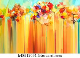 Abstract floral oil color painting