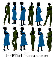 African American Female Doctor Silhouette