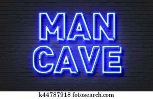 Man cave neon sign on brick wall background.
