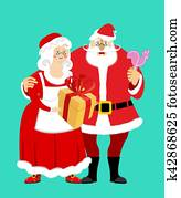 Santa and Mrs. Claus isolated. Christmas family. Woman in red dress and white apron. Cheerful elderly. New Year menage. Gift and Rooster Lollipop