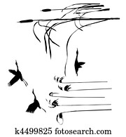 vector drawing flying birds