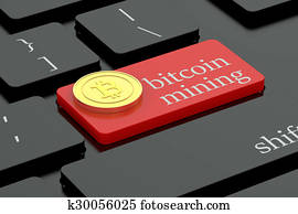 Bitcoin mining concept on keyboard button