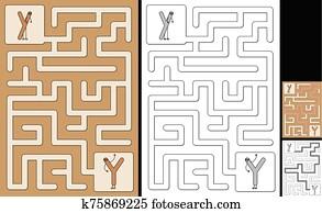 Easy alphabet maze - letter Y