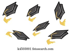 graduation caps being tossed in the air