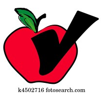 red apple with check mark