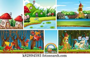 Six different scene of fantasy world with fantasy places and fantasy characters such as dragon