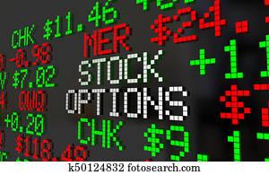 Stock Options Shares Benefits Ticker 3d Illustration