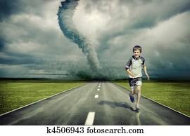 tornado and running boy