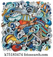 Winter Sports doodles illustration. Ski resort poster design