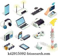 Wireless Technology Devices Isometric Icons Set