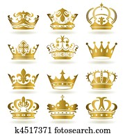 Gold crown icons set