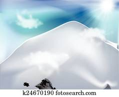 Mountain with clouds in sunny day