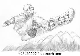 skier skiing illustration