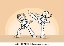 Two men in combat fighting karate