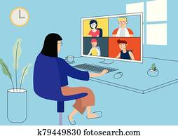 Work from home illustration vector.
