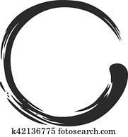 zen, kreis, farbpinsel, schlag, vektor, abbildung