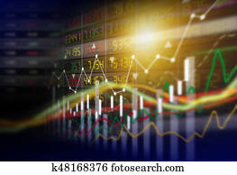 Business concept of stock market graph background design