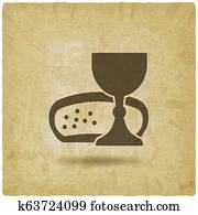 Communion symbol wine and bread vintage background