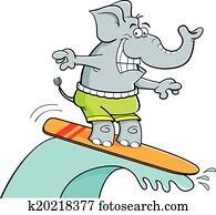 karikatur, surfen, elefant