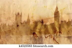 London skyline in artistic style