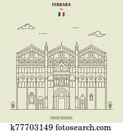 Ferrara Cathedral, Italy. Landmark icon