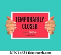 Information warning temporarily closed sign of coronavirus news. Illustration
