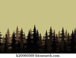 暗い 森 そして 満月 クリップアート K6374526 Fotosearch