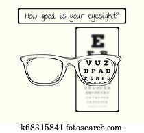 snellen chart for eye test - sharp and blurred