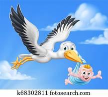 storch, karikatur, schwangerschaft, mythos, vogel, mit, baby- junge