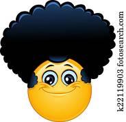 afro, emoticon